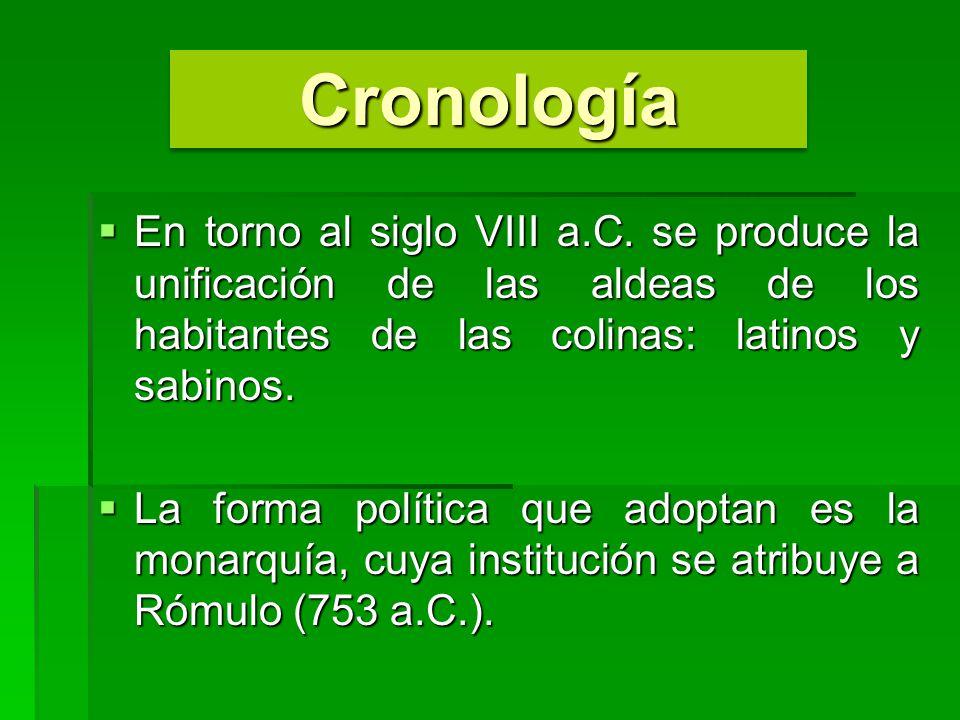 CronologíaCronología En torno al siglo VIII a.C. se produce la unificación de las aldeas de los habitantes de las colinas: latinos y sabinos. En torno