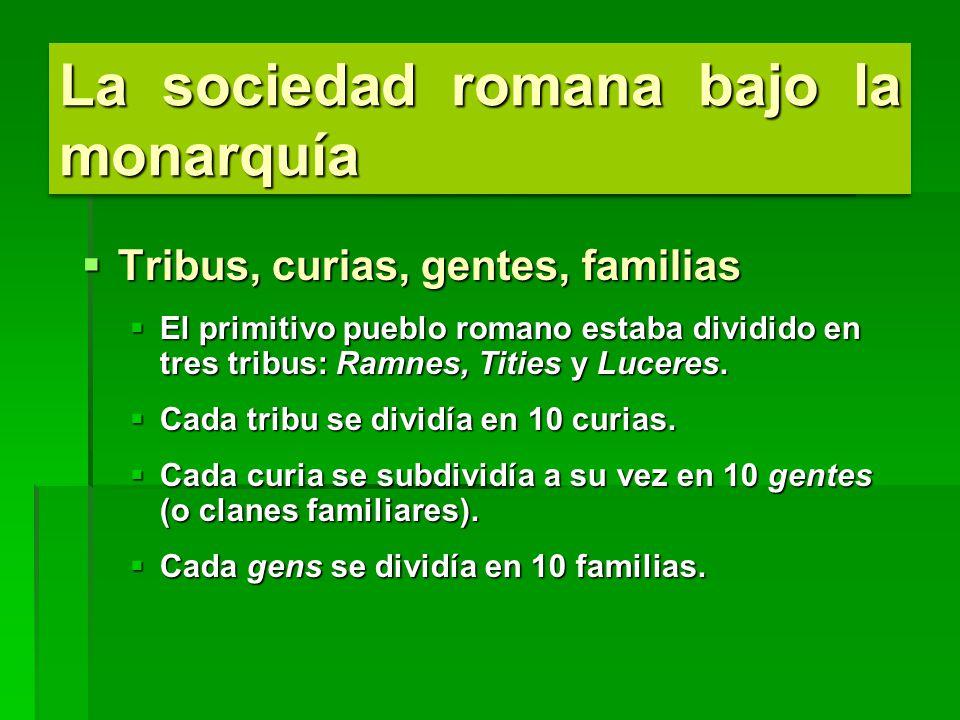 La sociedad romana bajo la monarquía Tribus, curias, gentes, familias Tribus, curias, gentes, familias El primitivo pueblo romano estaba dividido en tres tribus: Ramnes, Tities y Luceres.
