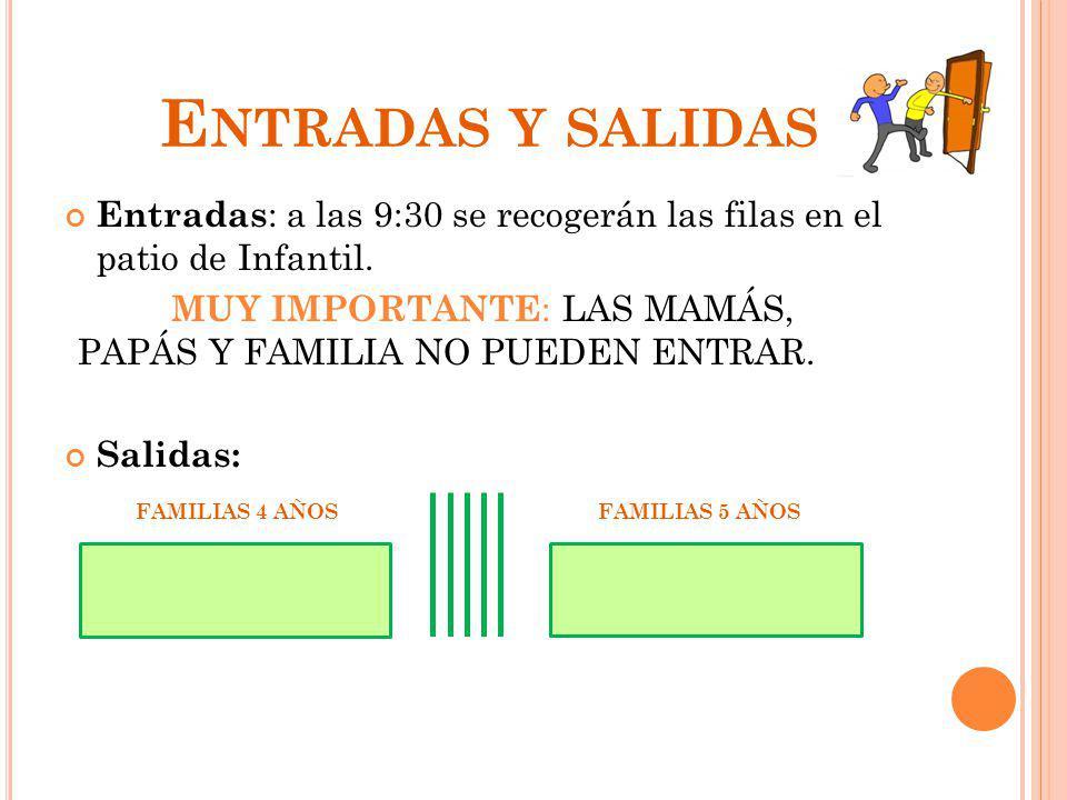 E NTRADAS Y SALIDAS Entradas : a las 9:30 se recogerán las filas en el patio de Infantil. MUY IMPORTANTE : LAS MAMÁS, PAPÁS Y FAMILIA NO PUEDEN ENTRAR