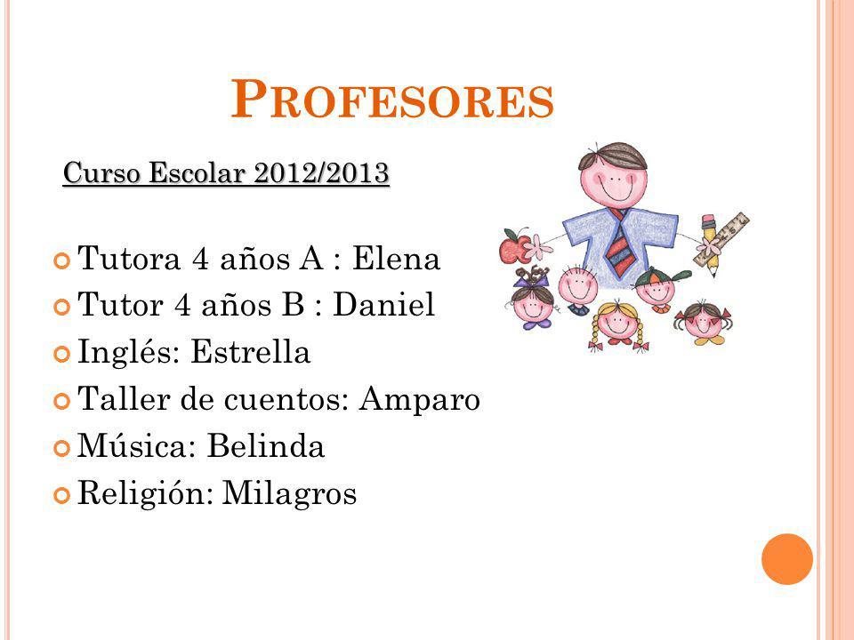 P ROFESORES Curso Escolar 2012/2013 Tutora 4 años A : Elena Tutor 4 años B : Daniel Inglés: Estrella Taller de cuentos: Amparo Música: Belinda Religió