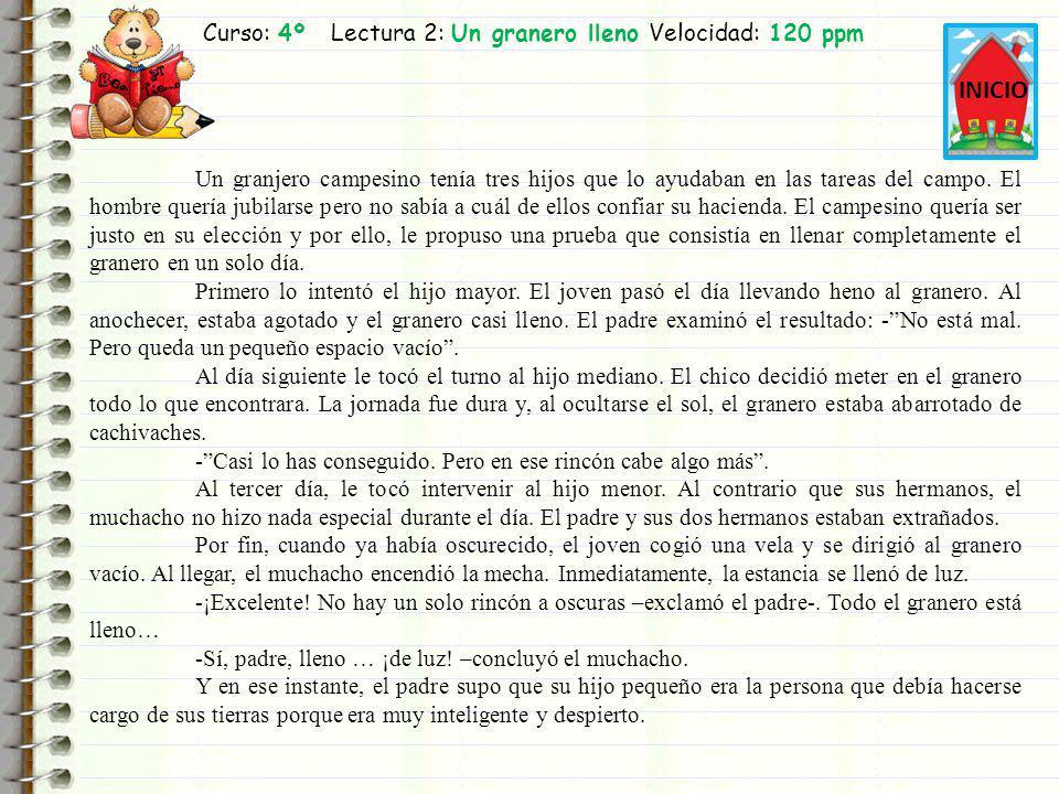 Curso: 4º Lectura 2: Un granero lleno Velocidad: 120 ppm INICIO Un granjero campesino tenía tres hijos que lo ayudaban en las tareas del campo. El hom
