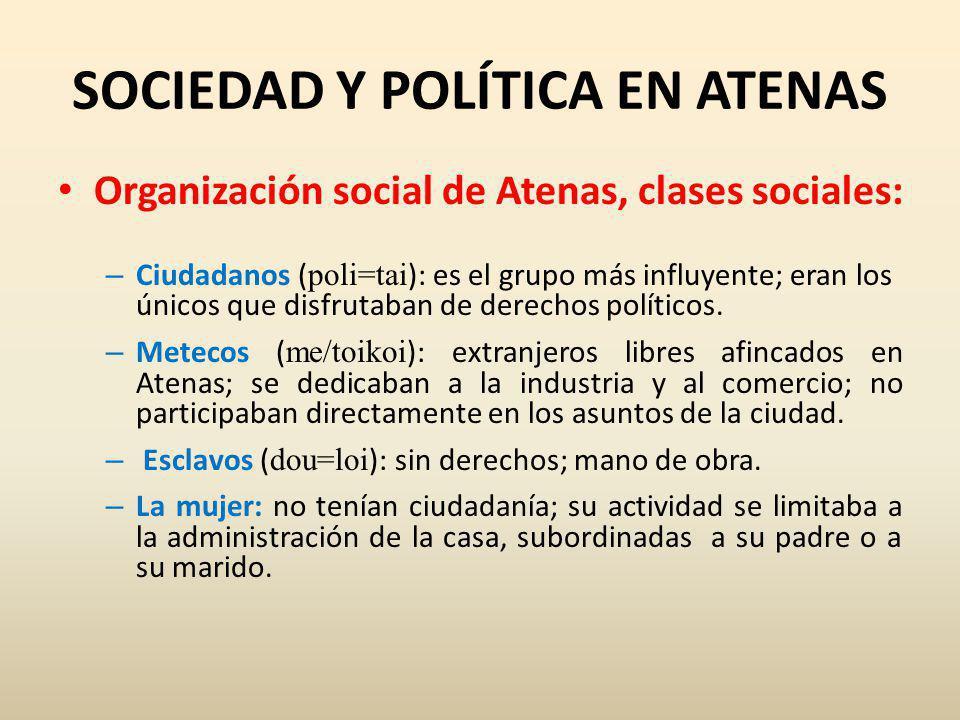 SOCIEDAD Y POLÍTICA EN ATENAS Organización social de Atenas, clases sociales: – Ciudadanos ( poli=tai ): es el grupo más influyente; eran los únicos que disfrutaban de derechos políticos.