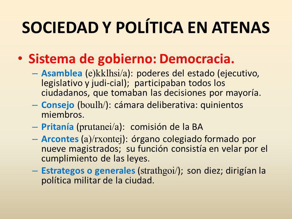SOCIEDAD Y POLÍTICA EN ATENAS Sistema de gobierno: Democracia.