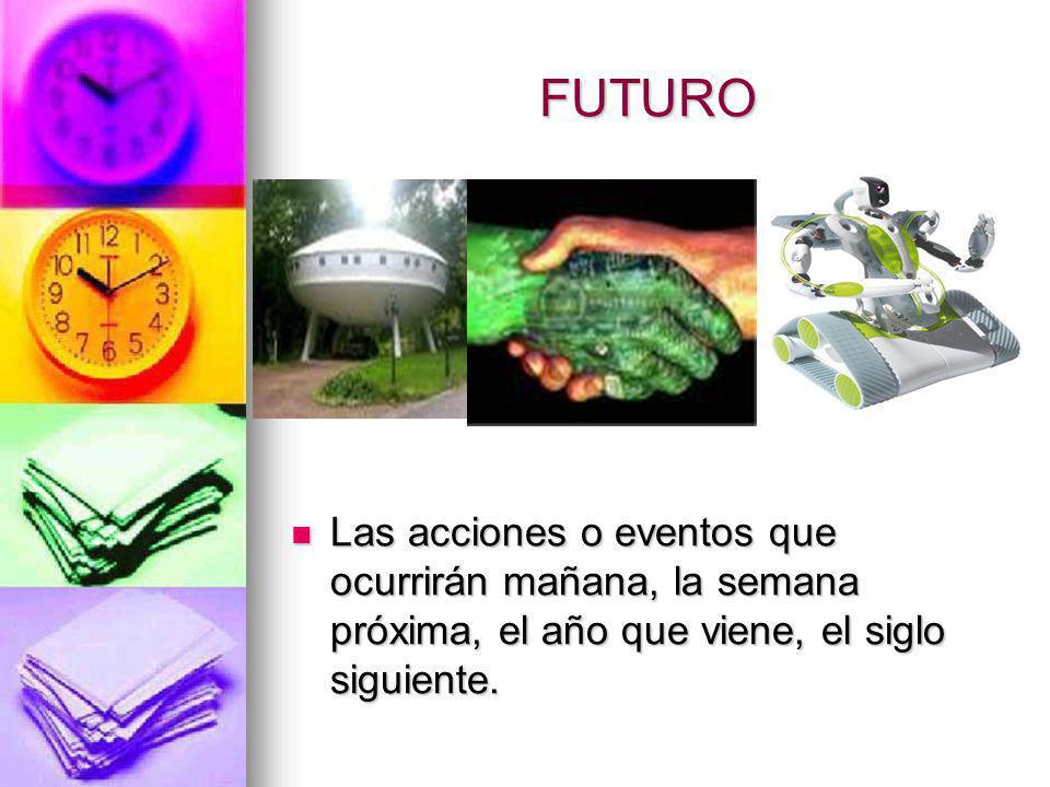 FUTURO Las acciones o eventos que ocurrirán mañana, la semana próxima, el año que viene, el siglo siguiente. Las acciones o eventos que ocurrirán maña