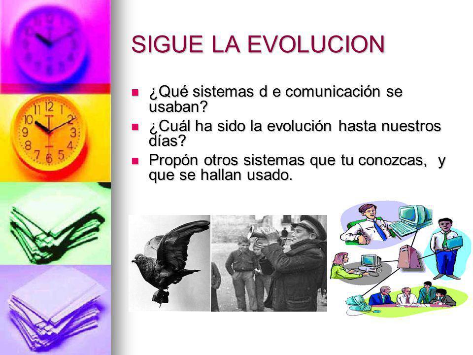 SIGUE LA EVOLUCION ¿Qué sistemas d e comunicación se usaban? ¿Qué sistemas d e comunicación se usaban? ¿Cuál ha sido la evolución hasta nuestros días?