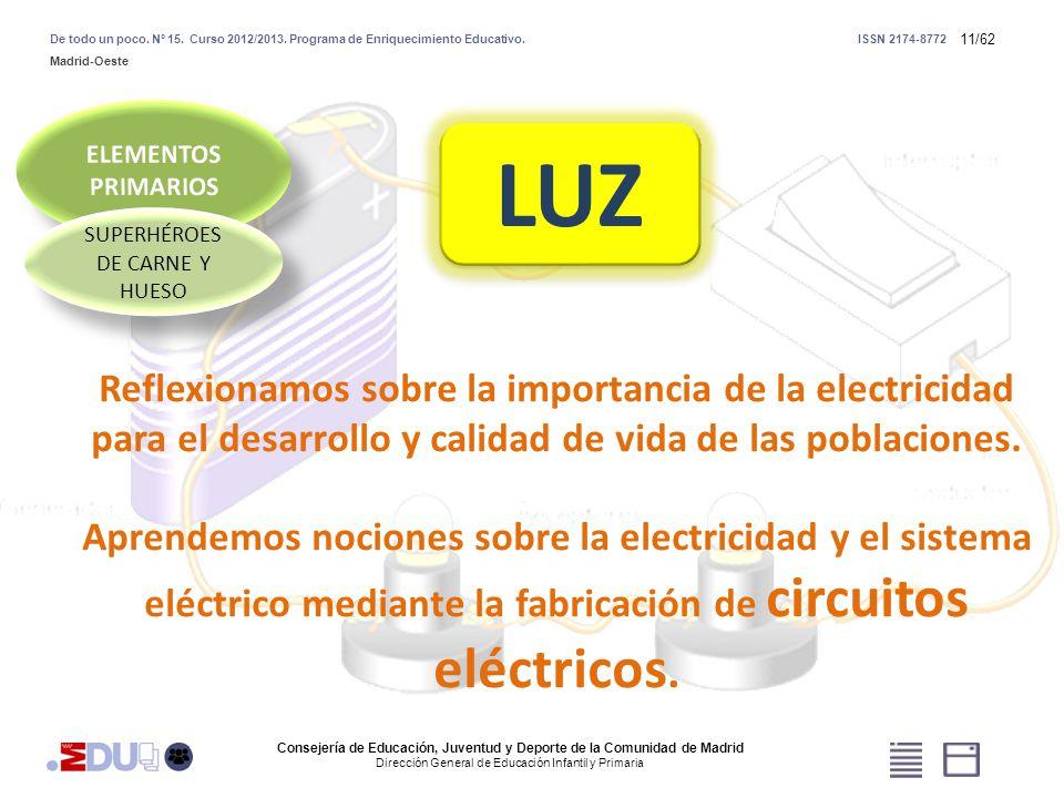 11/62 LUZ Reflexionamos sobre la importancia de la electricidad para el desarrollo y calidad de vida de las poblaciones. Aprendemos nociones sobre la