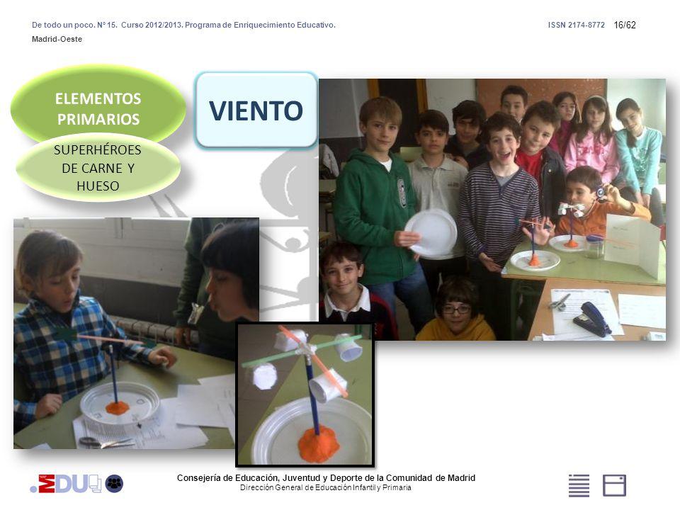 16/62 SUPERHÉROES DE CARNE Y HUESO VIENTO Consejería de Educación, Juventud y Deporte de la Comunidad de Madrid Dirección General de Educación Infanti