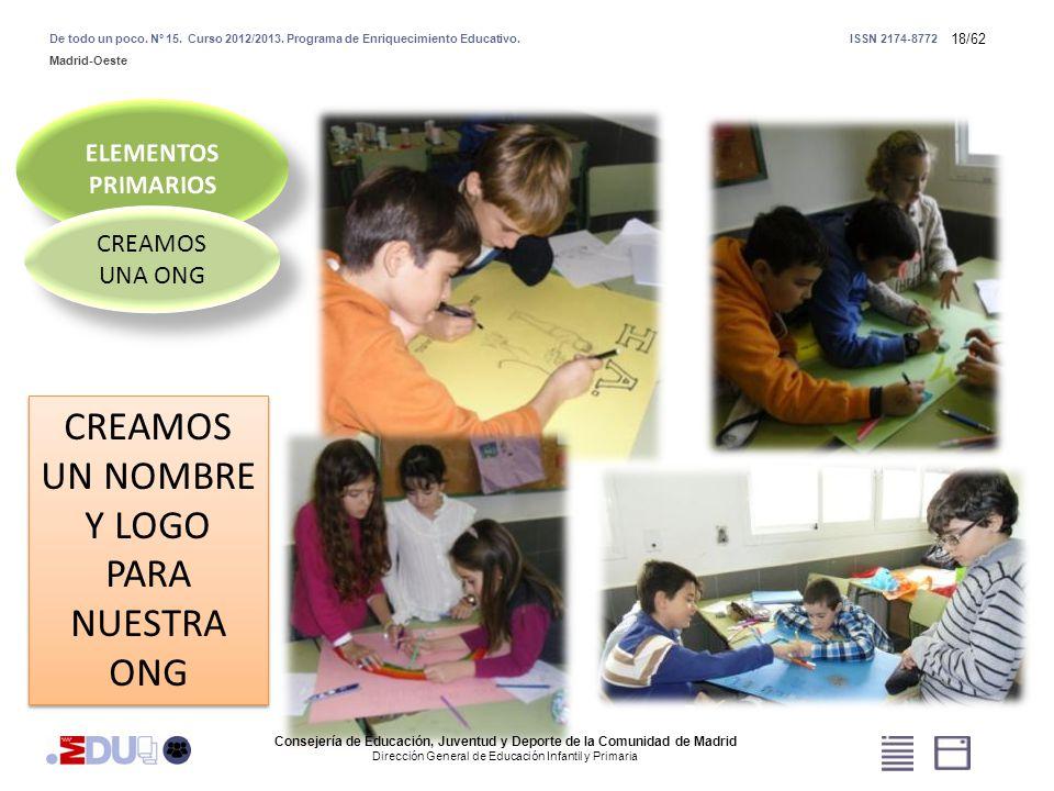 18/62 CREAMOS UNA ONG CREAMOS UN NOMBRE Y LOGO PARA NUESTRA ONG Consejería de Educación, Juventud y Deporte de la Comunidad de Madrid Dirección Genera