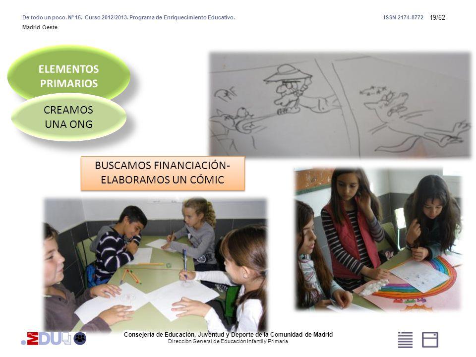 19/62 CREAMOS UNA ONG BUSCAMOS FINANCIACIÓN- ELABORAMOS UN CÓMIC Consejería de Educación, Juventud y Deporte de la Comunidad de Madrid Dirección Gener
