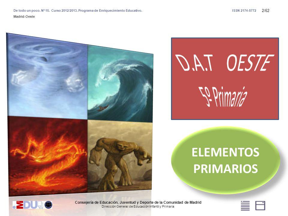 2/62 Consejería de Educación, Juventud y Deporte de la Comunidad de Madrid Dirección General de Educación Infantil y Primaria De todo un poco. Nº 15.