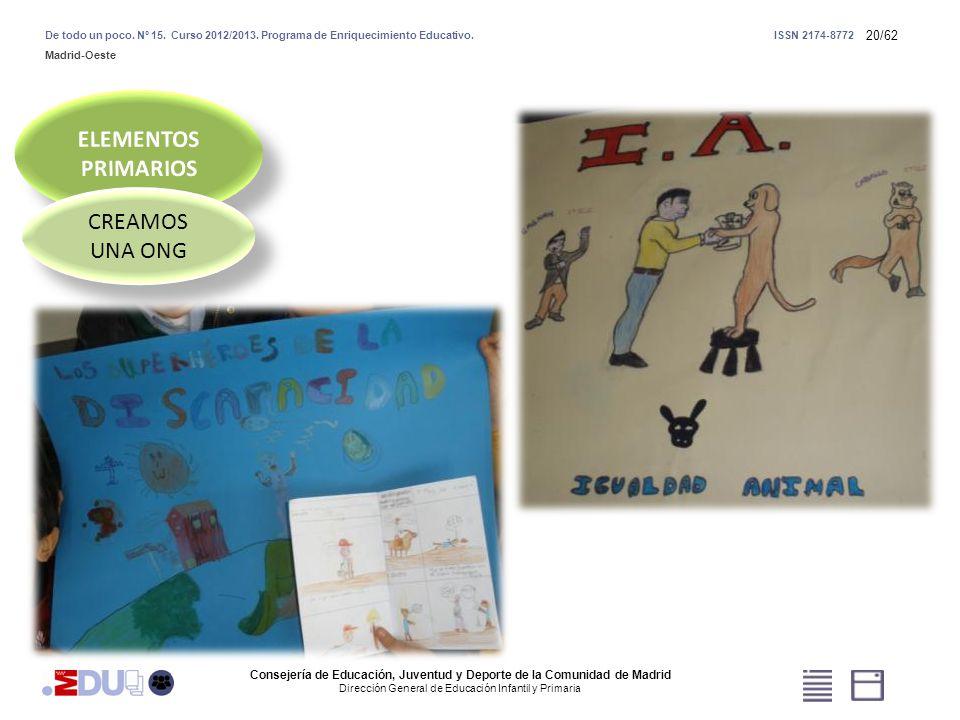 20/62 CREAMOS UNA ONG Consejería de Educación, Juventud y Deporte de la Comunidad de Madrid Dirección General de Educación Infantil y Primaria De todo