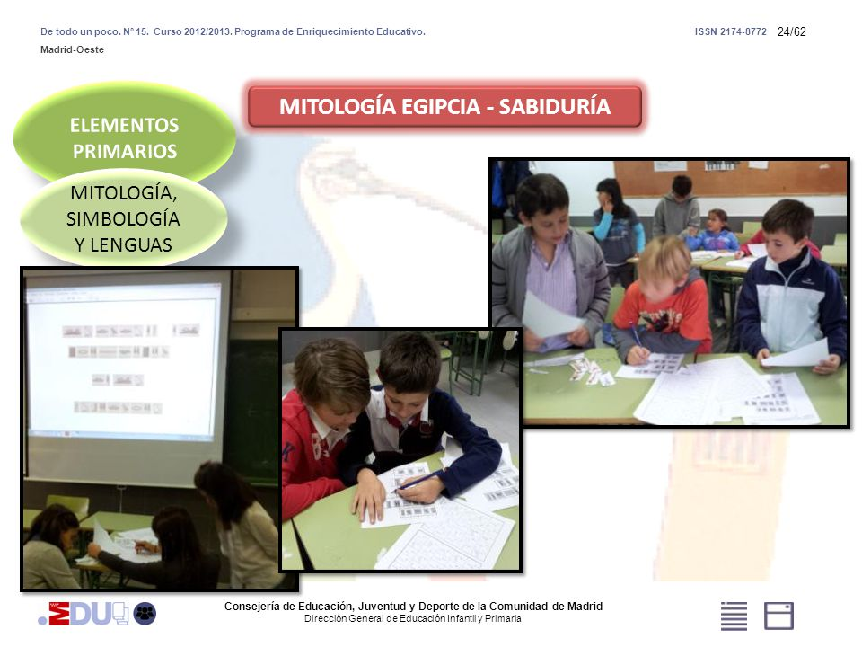 24/62 MITOLOGÍA, SIMBOLOGÍA Y LENGUAS MITOLOGÍA EGIPCIA - SABIDURÍA Consejería de Educación, Juventud y Deporte de la Comunidad de Madrid Dirección Ge