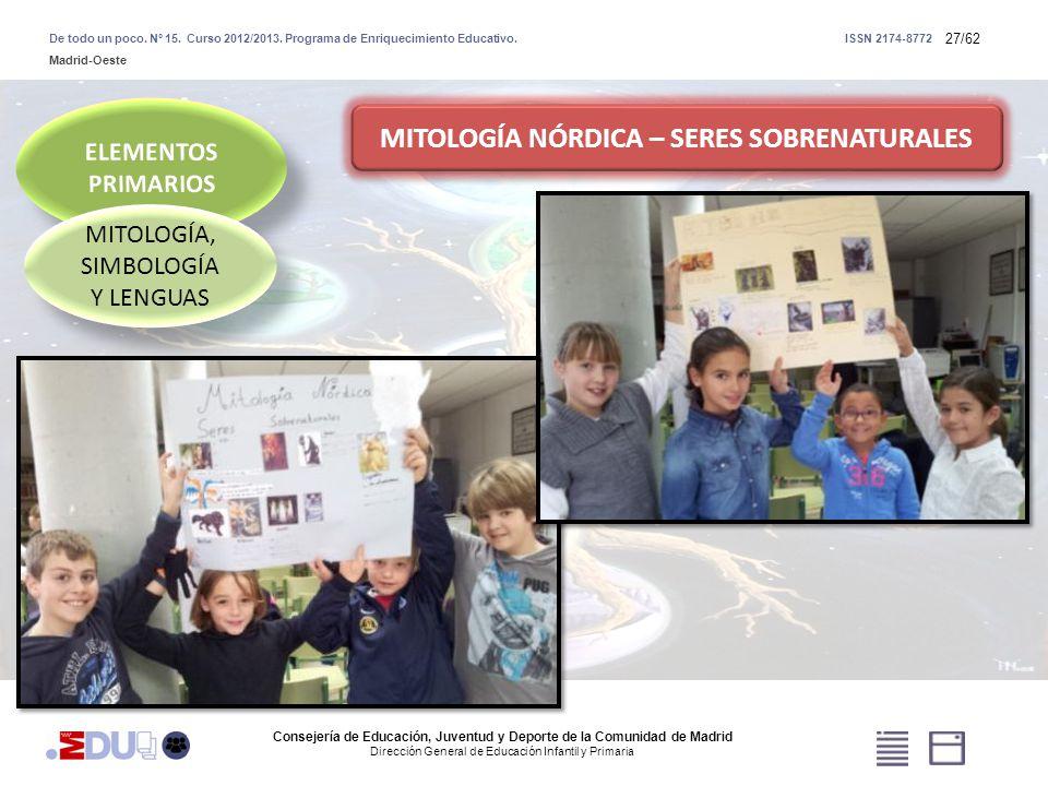 27/62 MITOLOGÍA, SIMBOLOGÍA Y LENGUAS MITOLOGÍA NÓRDICA – SERES SOBRENATURALES Consejería de Educación, Juventud y Deporte de la Comunidad de Madrid D