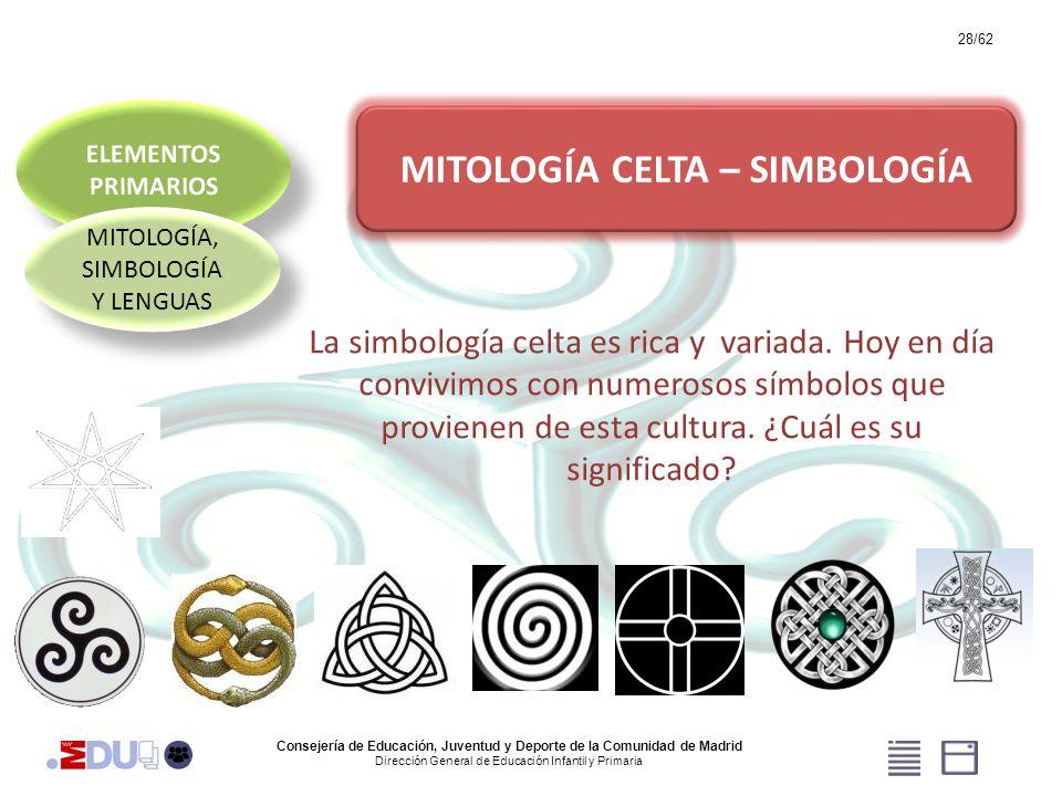 28/62 MITOLOGÍA, SIMBOLOGÍA Y LENGUAS MITOLOGÍA CELTA – SIMBOLOGÍA La simbología celta es rica y variada. Hoy en día convivimos con numerosos símbolos