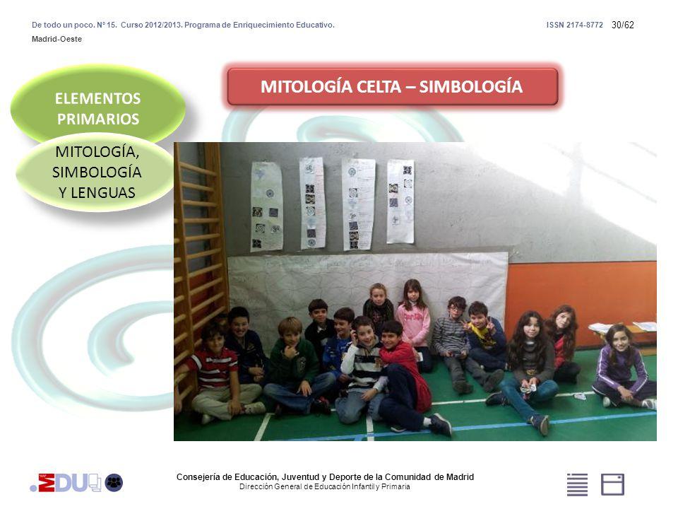 30/62 MITOLOGÍA, SIMBOLOGÍA Y LENGUAS MITOLOGÍA CELTA – SIMBOLOGÍA Consejería de Educación, Juventud y Deporte de la Comunidad de Madrid Dirección Gen