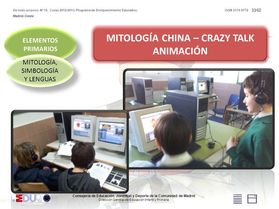 33/62 MITOLOGÍA, SIMBOLOGÍA Y LENGUAS MITOLOGÍA CHINA – CRAZY TALK ANIMACIÓN Consejería de Educación, Juventud y Deporte de la Comunidad de Madrid Dir