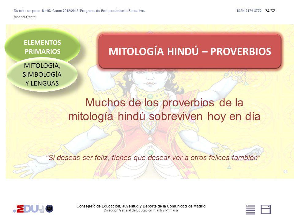 34/62 MITOLOGÍA, SIMBOLOGÍA Y LENGUAS MITOLOGÍA HINDÚ – PROVERBIOS Muchos de los proverbios de la mitología hindú sobreviven hoy en día Si deseas ser