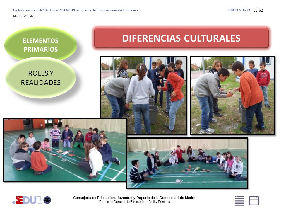 38/62 DIFERENCIAS CULTURALES ROLES Y REALIDADES Consejería de Educación, Juventud y Deporte de la Comunidad de Madrid Dirección General de Educación I