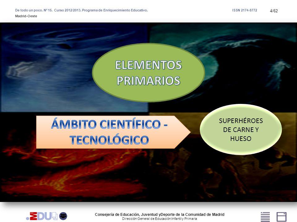 4/62 SUPERHÉROES DE CARNE Y HUESO De todo un poco. Nº 15. Curso 2012/2013. Programa de Enriquecimiento Educativo. ISSN 2174-8772 Madrid-Oeste Consejer