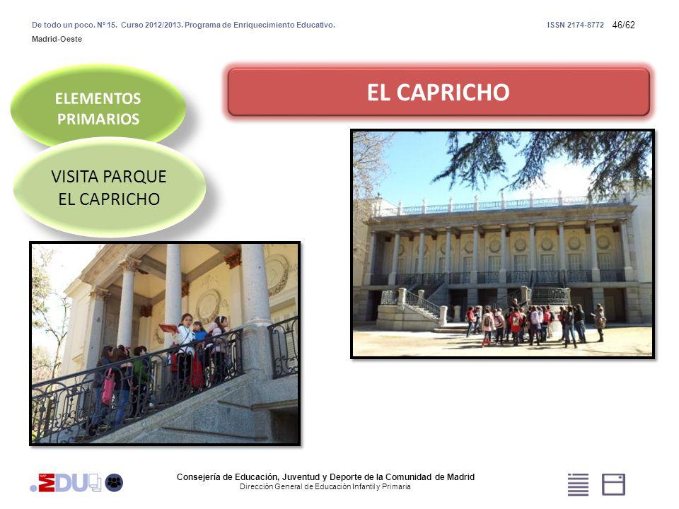 46/62 EL CAPRICHO VISITA PARQUE EL CAPRICHO VISITA PARQUE EL CAPRICHO Consejería de Educación, Juventud y Deporte de la Comunidad de Madrid Dirección