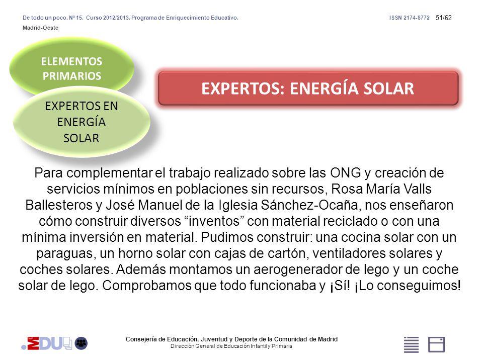 51/62 EXPERTOS: ENERGÍA SOLAR EXPERTOS EN ENERGÍA SOLAR Consejería de Educación, Juventud y Deporte de la Comunidad de Madrid Dirección General de Edu