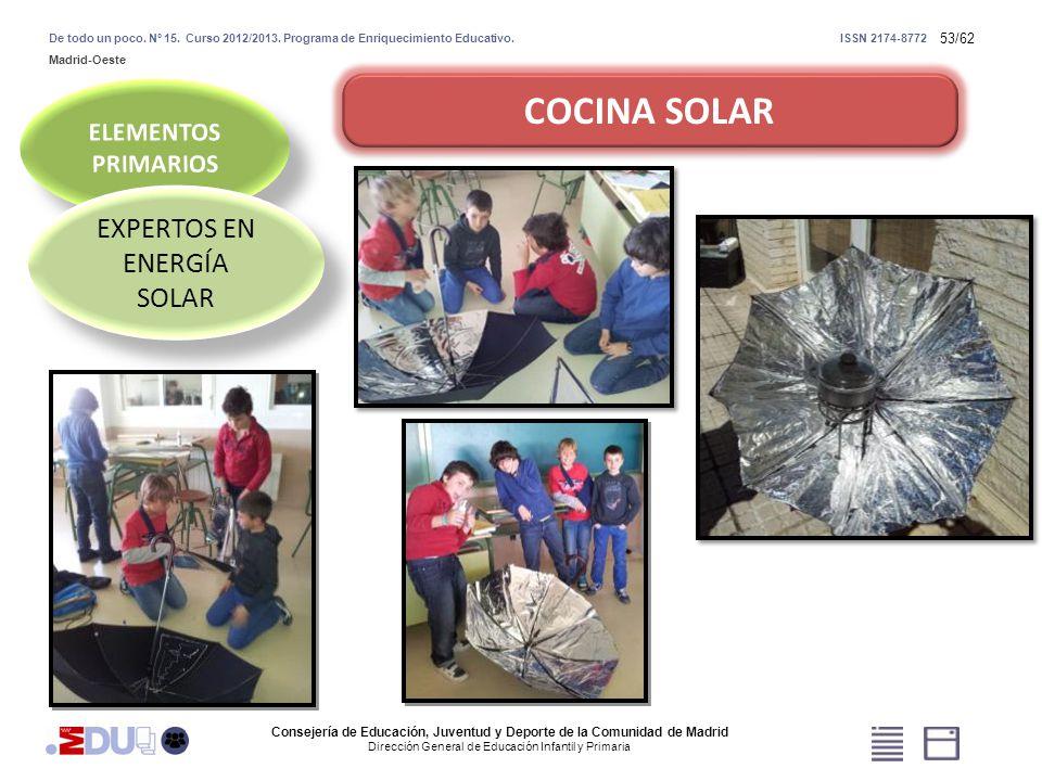 53/62 COCINA SOLAR EXPERTOS EN ENERGÍA SOLAR Consejería de Educación, Juventud y Deporte de la Comunidad de Madrid Dirección General de Educación Infa