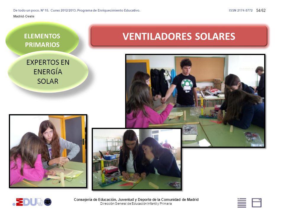 54/62 VENTILADORES SOLARES EXPERTOS EN ENERGÍA SOLAR Consejería de Educación, Juventud y Deporte de la Comunidad de Madrid Dirección General de Educac