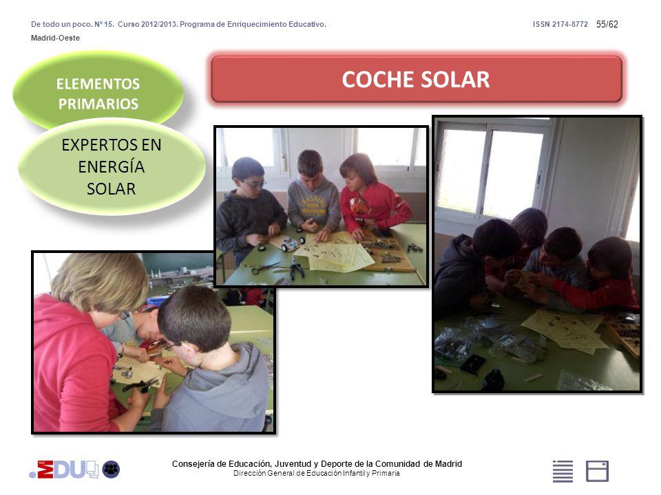55/62 COCHE SOLAR EXPERTOS EN ENERGÍA SOLAR Consejería de Educación, Juventud y Deporte de la Comunidad de Madrid Dirección General de Educación Infan
