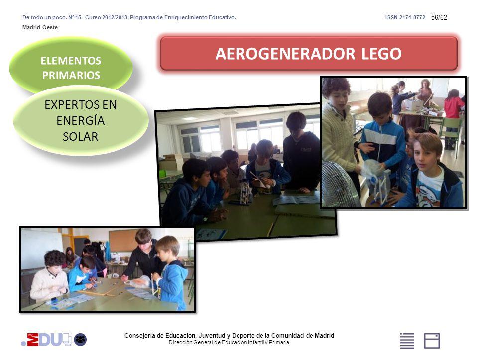 56/62 AEROGENERADOR LEGO EXPERTOS EN ENERGÍA SOLAR Consejería de Educación, Juventud y Deporte de la Comunidad de Madrid Dirección General de Educació