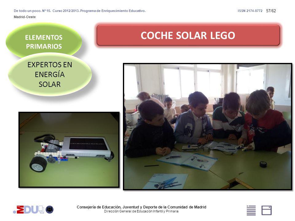 57/62 COCHE SOLAR LEGO EXPERTOS EN ENERGÍA SOLAR Consejería de Educación, Juventud y Deporte de la Comunidad de Madrid Dirección General de Educación