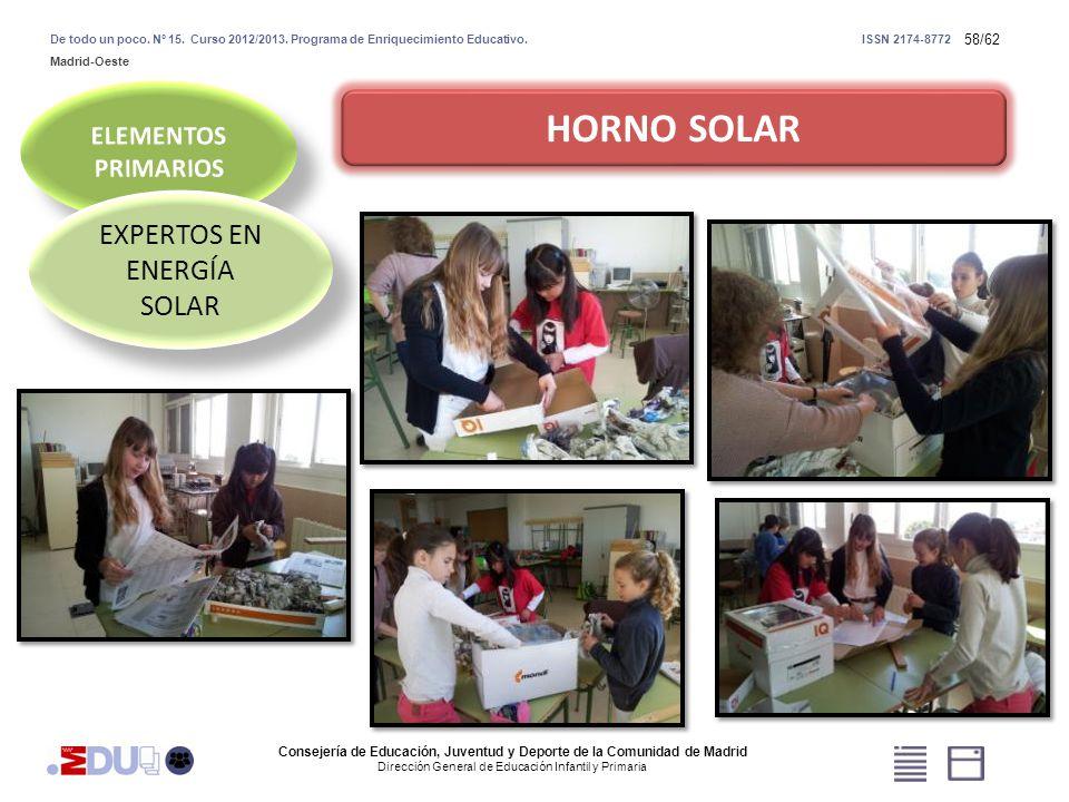 58/62 HORNO SOLAR EXPERTOS EN ENERGÍA SOLAR Consejería de Educación, Juventud y Deporte de la Comunidad de Madrid Dirección General de Educación Infan
