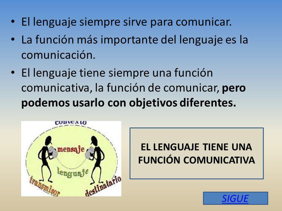 El lenguaje siempre sirve para comunicar.
