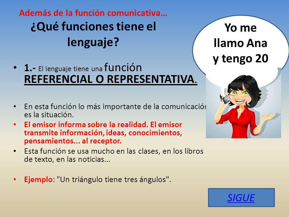 Además de la función comunicativa… ¿Qué funciones tiene el lenguaje.