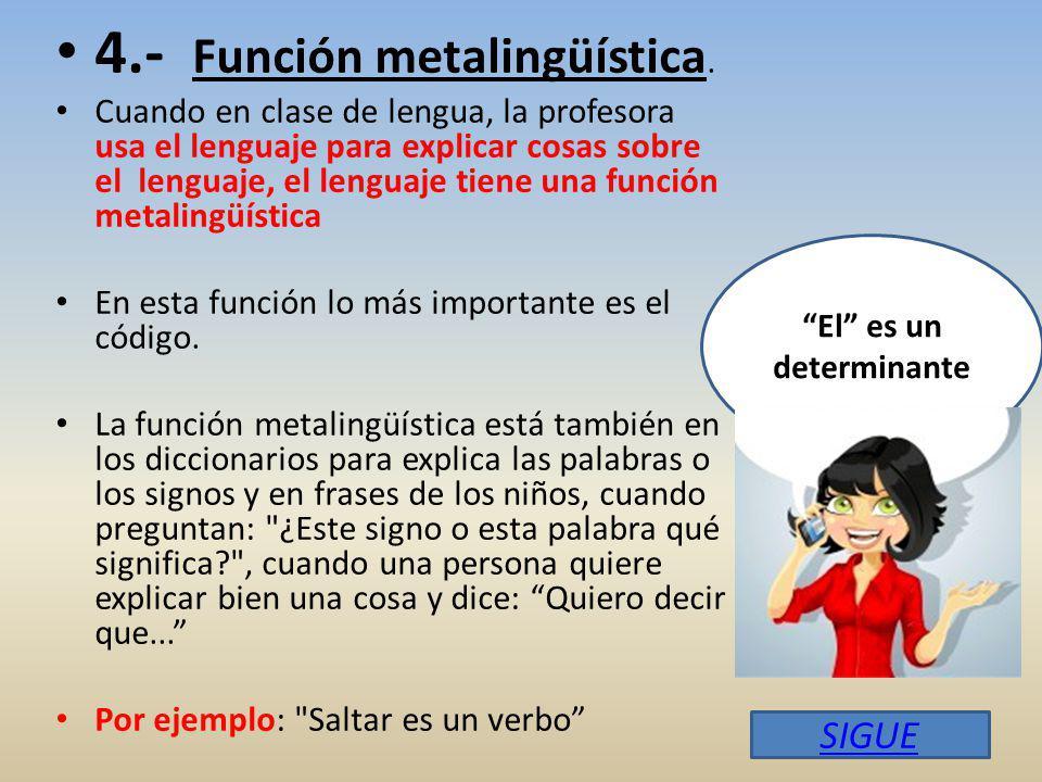 4.- Función metalingüística.