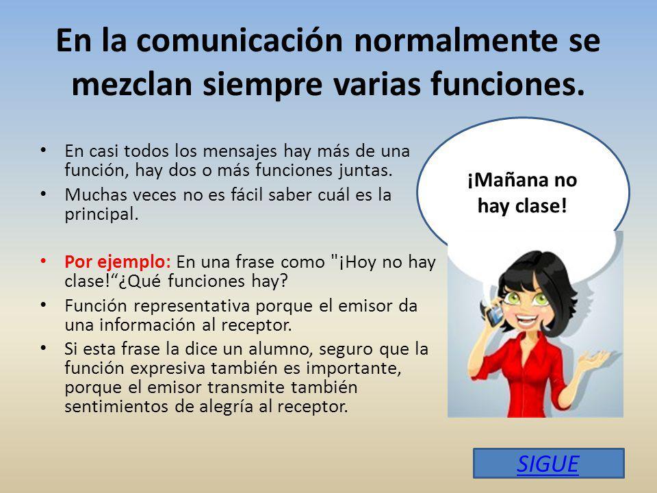 En la comunicación normalmente se mezclan siempre varias funciones.