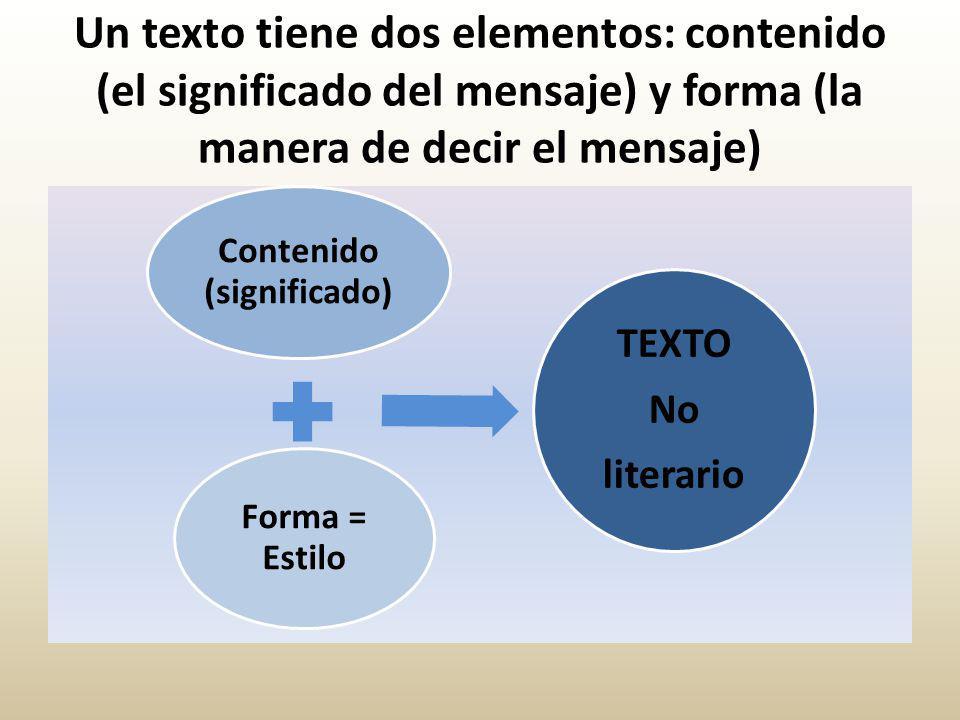 Un texto tiene dos elementos: contenido (el significado del mensaje) y forma (la manera de decir el mensaje) Contenido (significado) Forma = Estilo TEXTO No literario