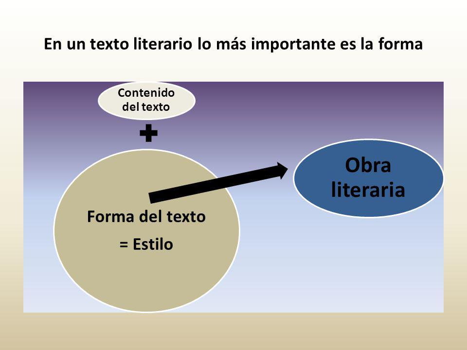 En un texto literario lo más importante es la forma Contenido del texto Forma del texto = Estilo Obra literaria