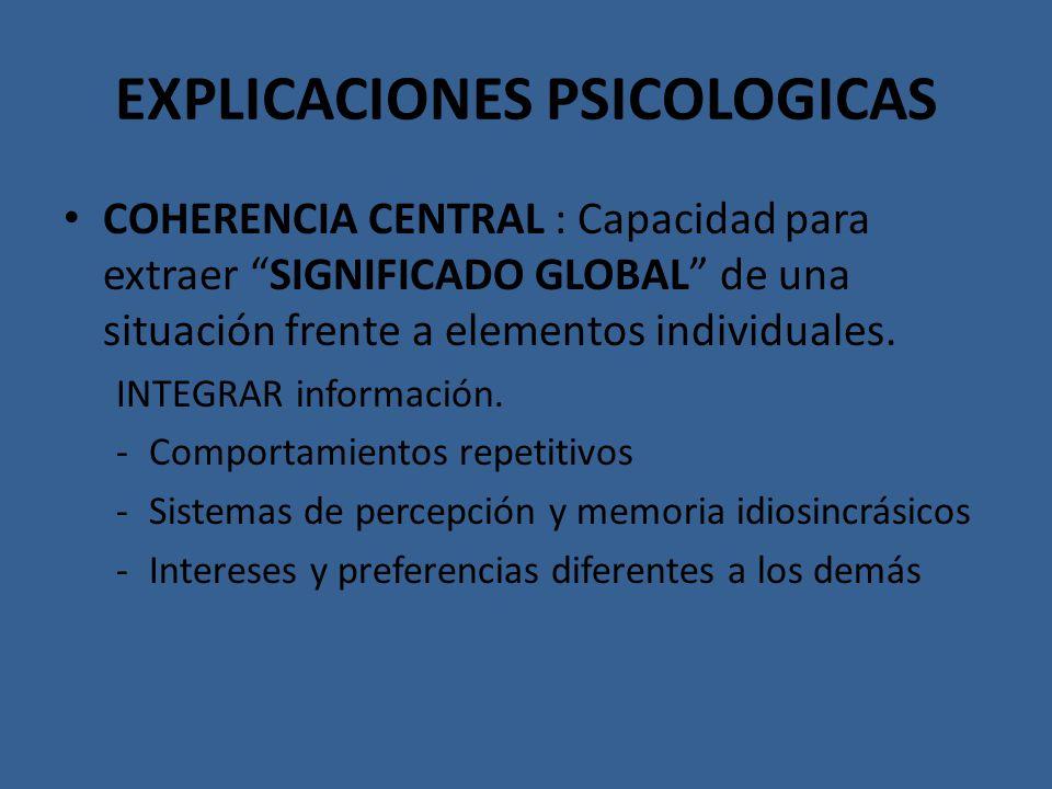 EXPLICACIONES PSICOLOGICAS COHERENCIA CENTRAL : Capacidad para extraer SIGNIFICADO GLOBAL de una situación frente a elementos individuales. INTEGRAR i