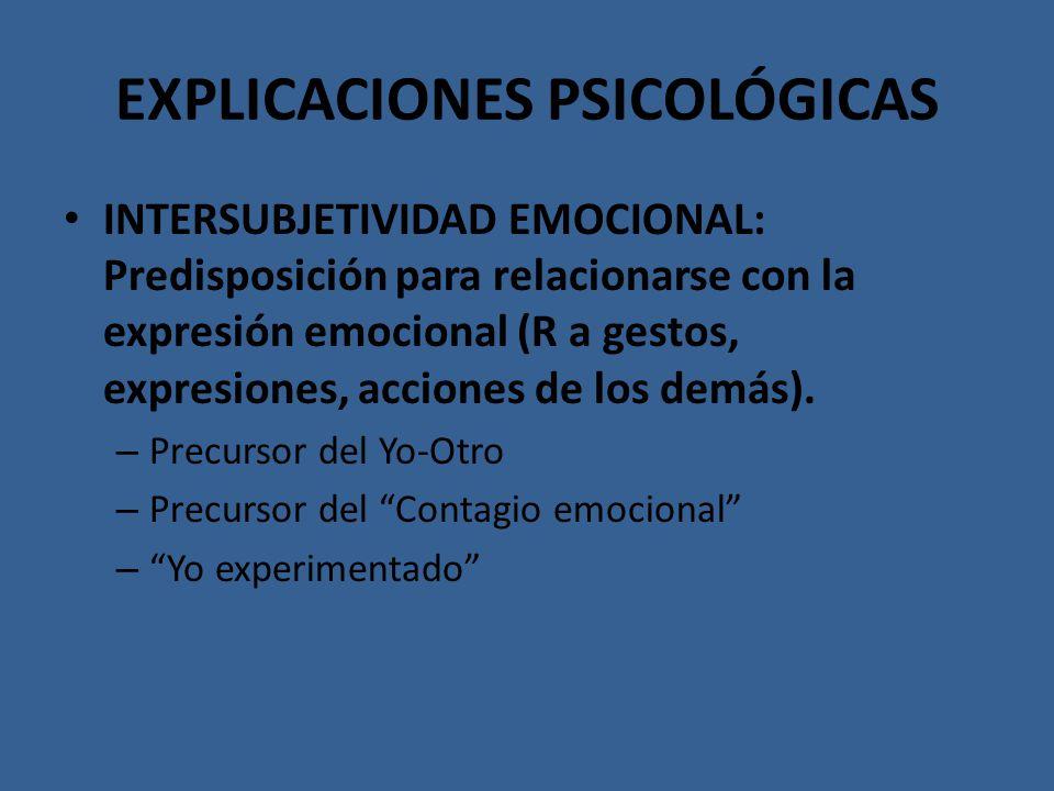 EXPLICACIONES PSICOLÓGICAS INTERSUBJETIVIDAD EMOCIONAL: Predisposición para relacionarse con la expresión emocional (R a gestos, expresiones, acciones