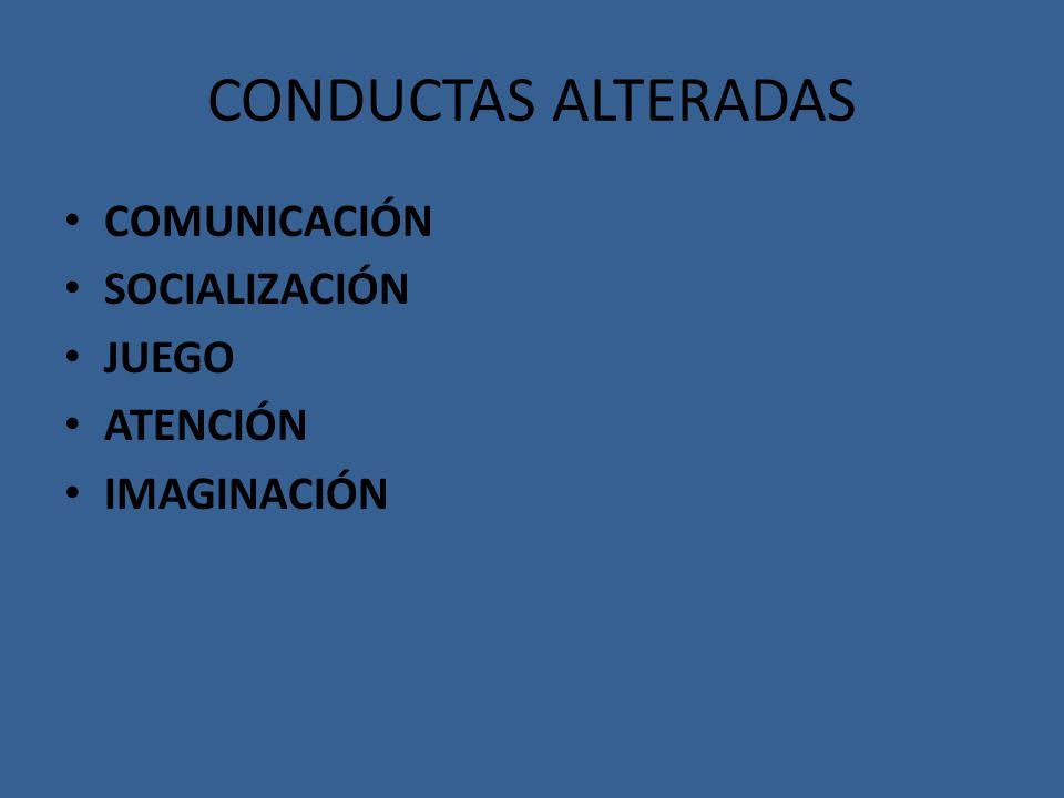 CONDUCTAS ALTERADAS COMUNICACIÓN SOCIALIZACIÓN JUEGO ATENCIÓN IMAGINACIÓN