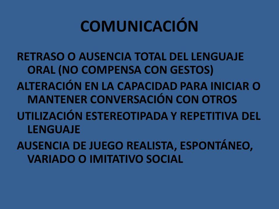 COMUNICACIÓN RETRASO O AUSENCIA TOTAL DEL LENGUAJE ORAL (NO COMPENSA CON GESTOS) ALTERACIÓN EN LA CAPACIDAD PARA INICIAR O MANTENER CONVERSACIÓN CON O