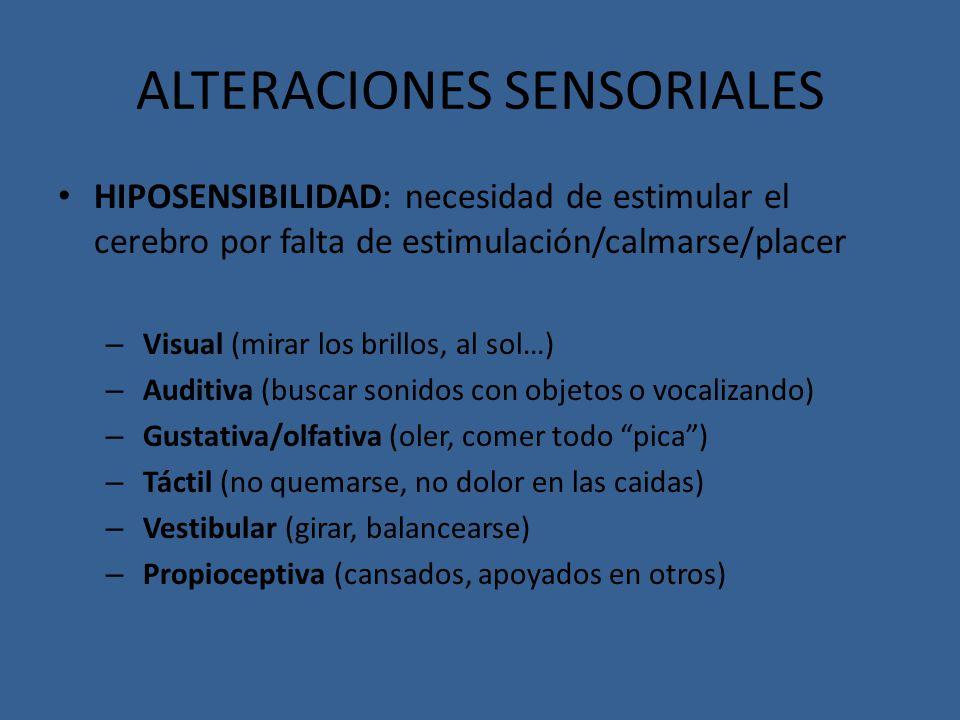 ALTERACIONES SENSORIALES HIPOSENSIBILIDAD: necesidad de estimular el cerebro por falta de estimulación/calmarse/placer – Visual (mirar los brillos, al