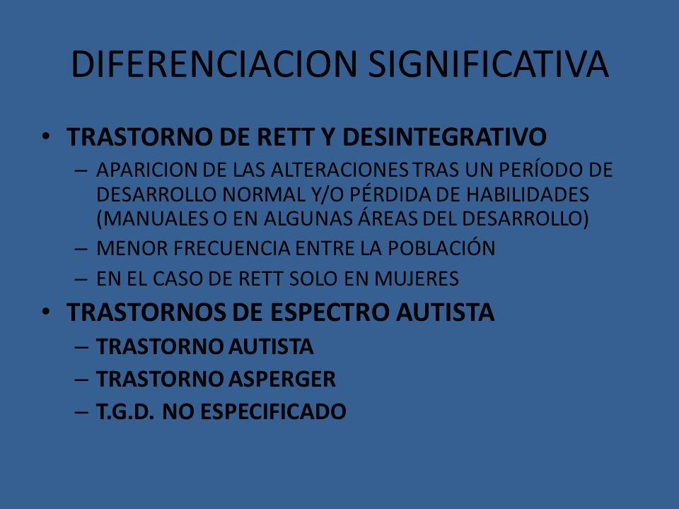 DIFERENCIACION SIGNIFICATIVA TRASTORNO DE RETT Y DESINTEGRATIVO – APARICION DE LAS ALTERACIONES TRAS UN PERÍODO DE DESARROLLO NORMAL Y/O PÉRDIDA DE HA