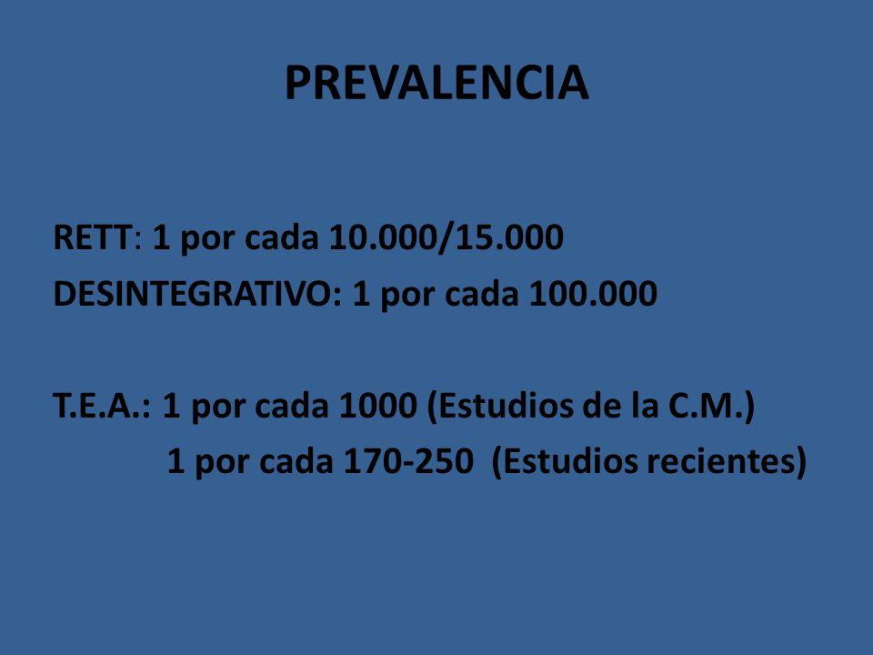 PREVALENCIA RETT: 1 por cada 10.000/15.000 DESINTEGRATIVO: 1 por cada 100.000 T.E.A.: 1 por cada 1000 (Estudios de la C.M.) 1 por cada 170-250 (Estudi
