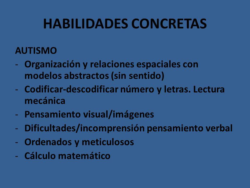 HABILIDADES CONCRETAS AUTISMO -Organización y relaciones espaciales con modelos abstractos (sin sentido) -Codificar-descodificar número y letras. Lect