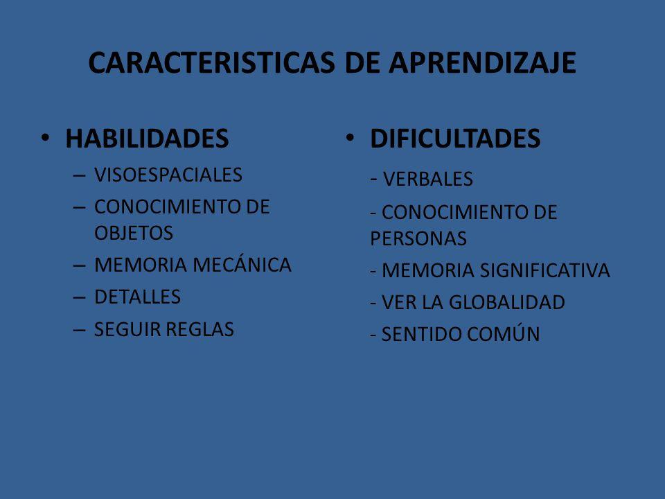 CARACTERISTICAS DE APRENDIZAJE HABILIDADES – VISOESPACIALES – CONOCIMIENTO DE OBJETOS – MEMORIA MECÁNICA – DETALLES – SEGUIR REGLAS DIFICULTADES - VER