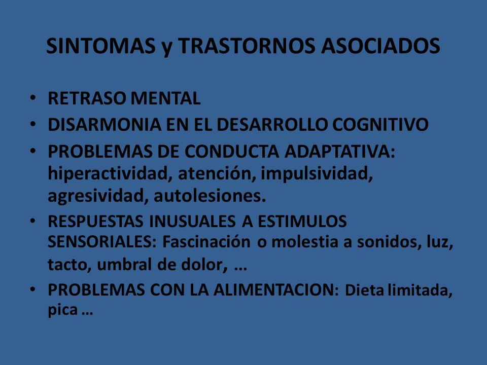 SINTOMAS y TRASTORNOS ASOCIADOS RETRASO MENTAL DISARMONIA EN EL DESARROLLO COGNITIVO PROBLEMAS DE CONDUCTA ADAPTATIVA: hiperactividad, atención, impul