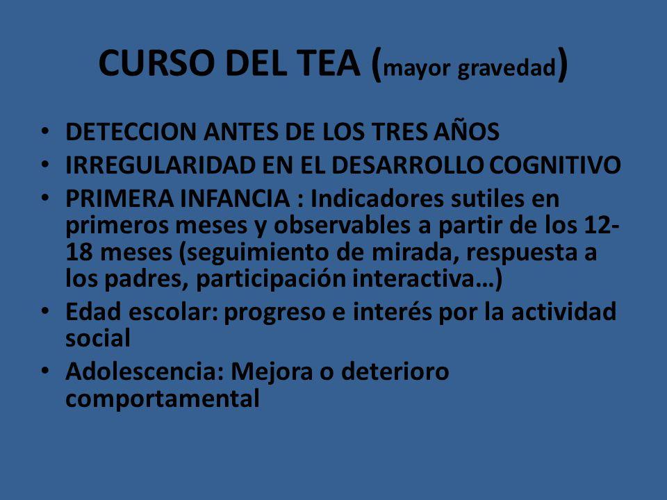 CURSO DEL TEA ( mayor gravedad ) DETECCION ANTES DE LOS TRES AÑOS IRREGULARIDAD EN EL DESARROLLO COGNITIVO PRIMERA INFANCIA : Indicadores sutiles en p