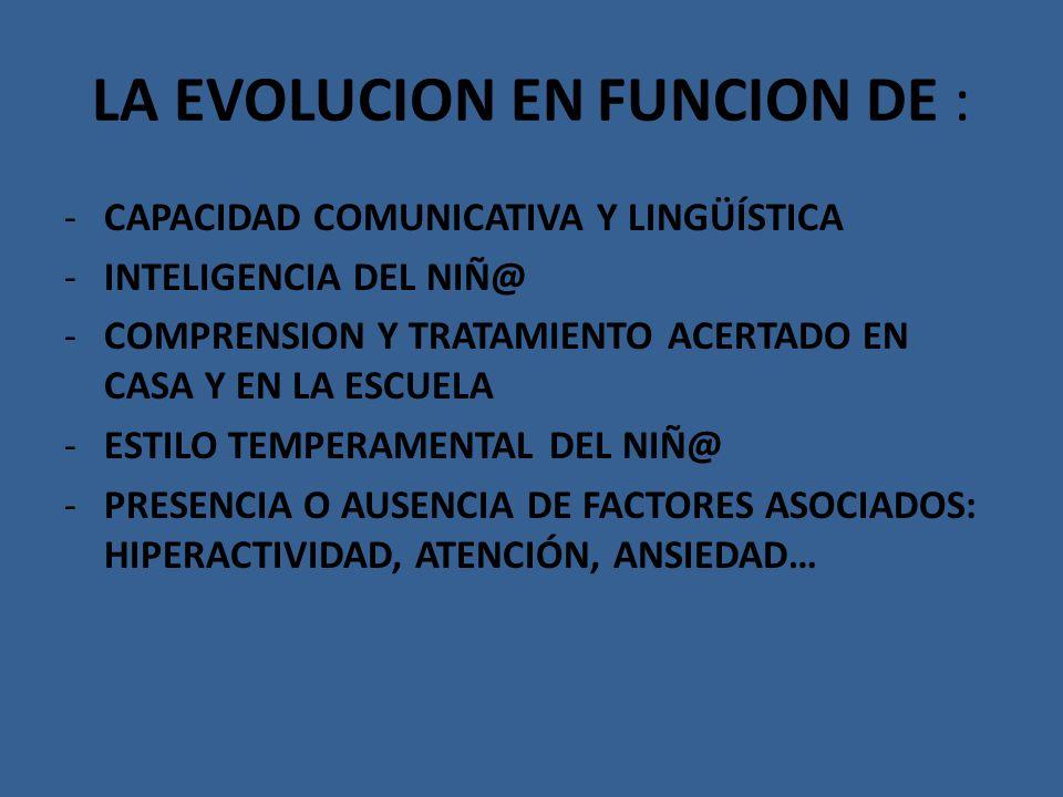 LA EVOLUCION EN FUNCION DE : -CAPACIDAD COMUNICATIVA Y LINGÜÍSTICA -INTELIGENCIA DEL NIÑ@ -COMPRENSION Y TRATAMIENTO ACERTADO EN CASA Y EN LA ESCUELA