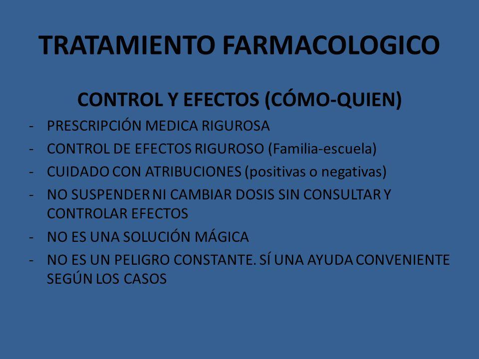 TRATAMIENTO FARMACOLOGICO CONTROL Y EFECTOS (CÓMO-QUIEN) -PRESCRIPCIÓN MEDICA RIGUROSA -CONTROL DE EFECTOS RIGUROSO (Familia-escuela) -CUIDADO CON ATR